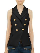 SS16 Women Brand Classic Tailoring Sleeveless Gold Buttons Double-breasted Top Vest