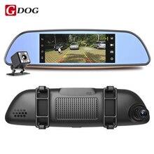 """3G DVR 6.86 """"сенсорный экран Android 4.4 автомобильный Камера DVR GPS навигации Двойной объектив Зеркало заднего вида видео Регистраторы FHD 1080 P"""
