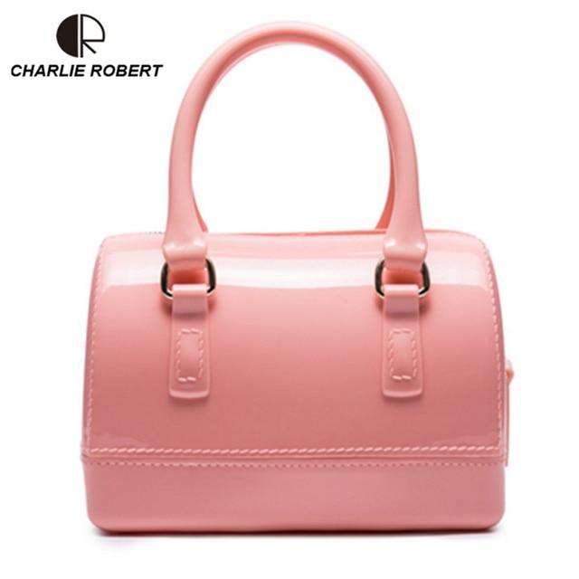 Mini Boston Bag Summer Lovely Jelly Silicone Bag Candy Color PVC Women Handbag Boutique Crossbody Bag Femenino Bolso BH1090
