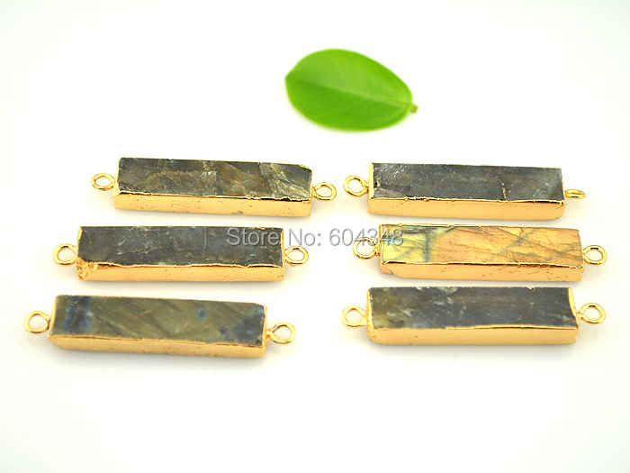 Polished Gold Plated  2 Pcs Jewelry Craft Supplies DG079-PG-LB Labradorite Gemstone Connector