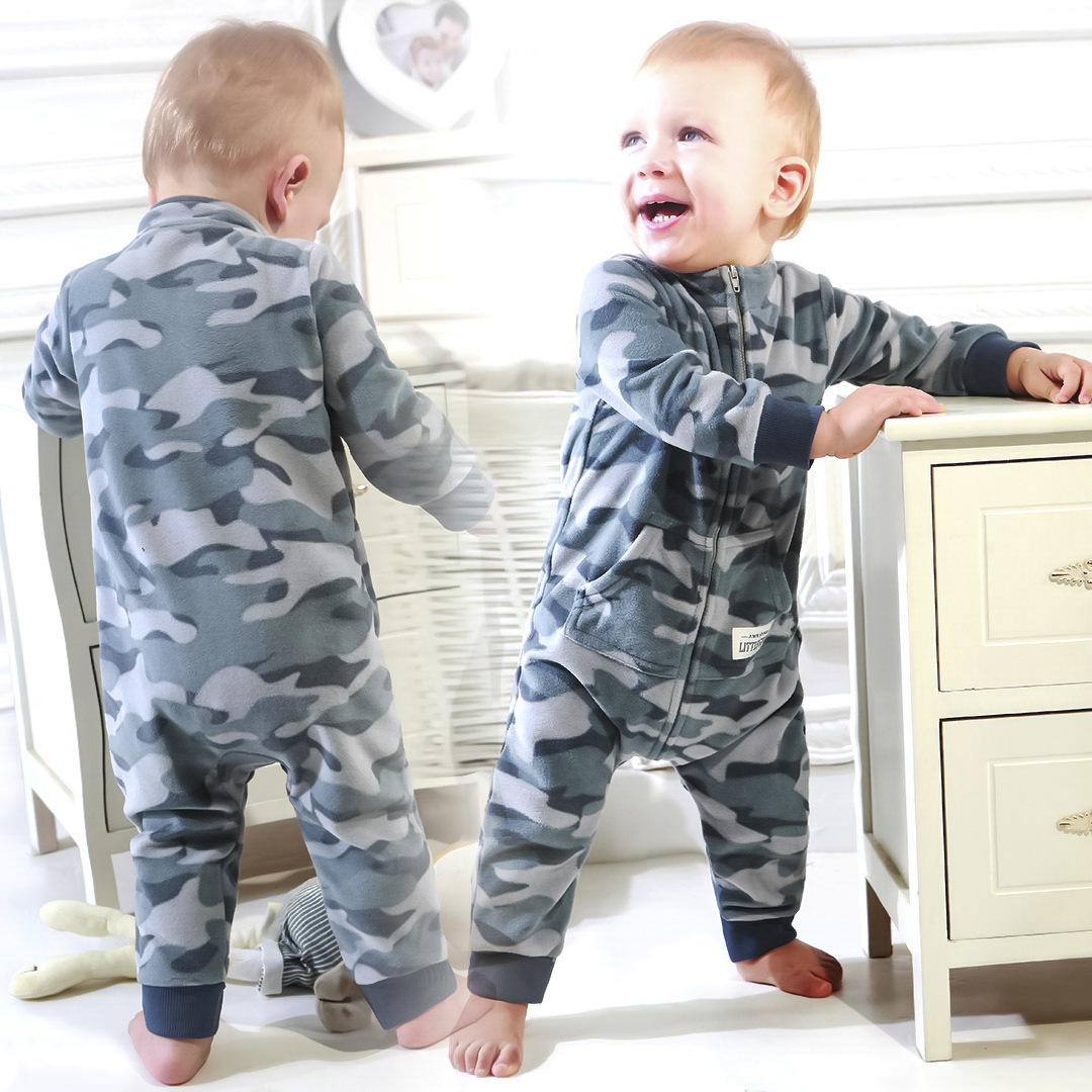 New baby   romper   fleece zipper camouflage toddler boys rumper baby christmas high collar jumpsuit ropa para bebe infants outfit