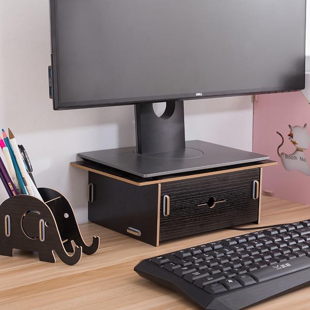 Aiyowei Yw Wooden Desktop Monitor Stand Holder Keyboard Desk Diy