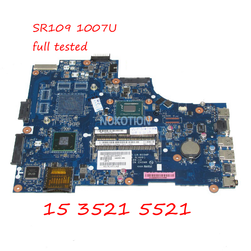 NOKOTION VAW00 LA-9104P CN-06H8WV 06H8WV 6H8WV Laptop Motherboard For Dell inspiron 15 3521 5521 SR109 1007U CPU DDR3 Main board nokotion laptop motherboard for dell inspiron 1120 series main board 0c9ct8 nlm01 la 6132p ddr3