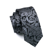 LS-822 Mens Tie Black Paisley 100% Silk Classic Barry.Wang Tie Hanky Cufflinks Set For Men Formal Wedding Party Groom Hot Sell
