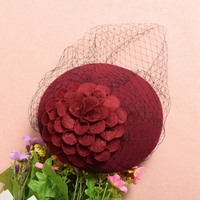 Vintage Lace Wool Billycock for Cocktail Party 5 Colors Ladies Flower Veil Hat New