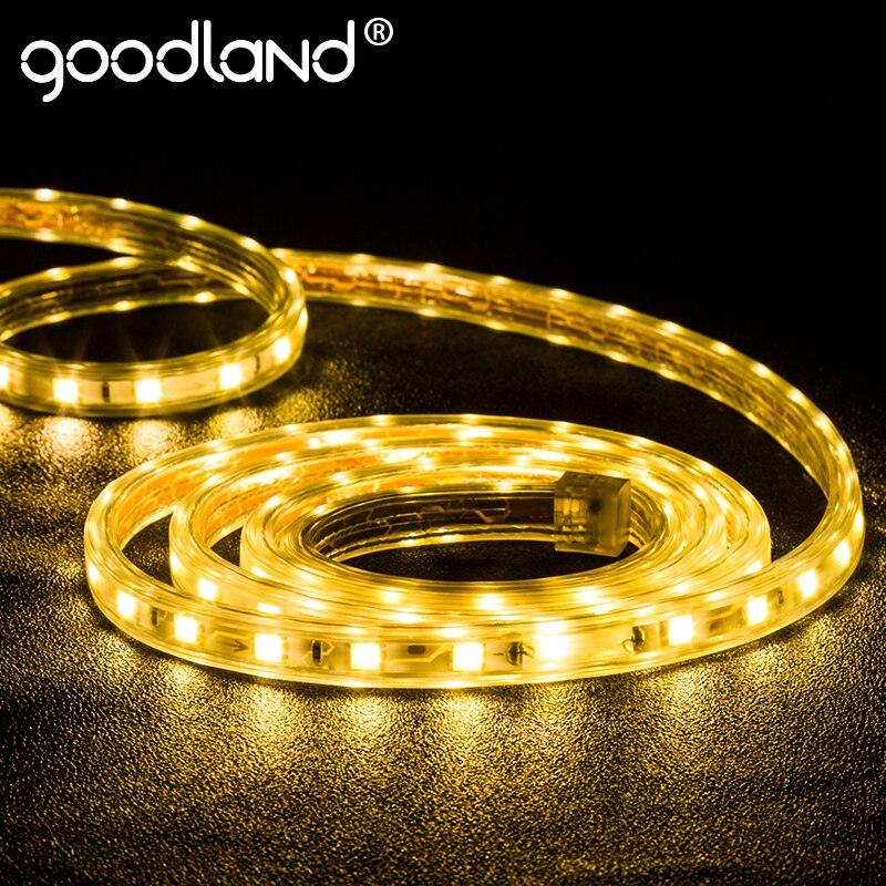 Goodland HA CONDOTTO LA Luce di Striscia AC 220 V SMD 5050 Flessibile LED Del Nastro Del Nastro HA CONDOTTO La Striscia Impermeabile Bianco per Soggiorno 3 M 5 M 10 M 15 M 20 M