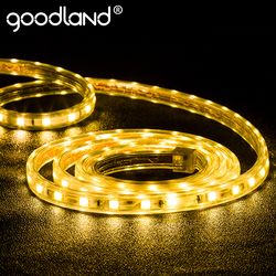 Goodland LED Strip Light AC 220V SMD 5050 Flexible LED Diode Tape Neon Ribbon LED Strip Waterproof for Living Room 10M 15M 20M
