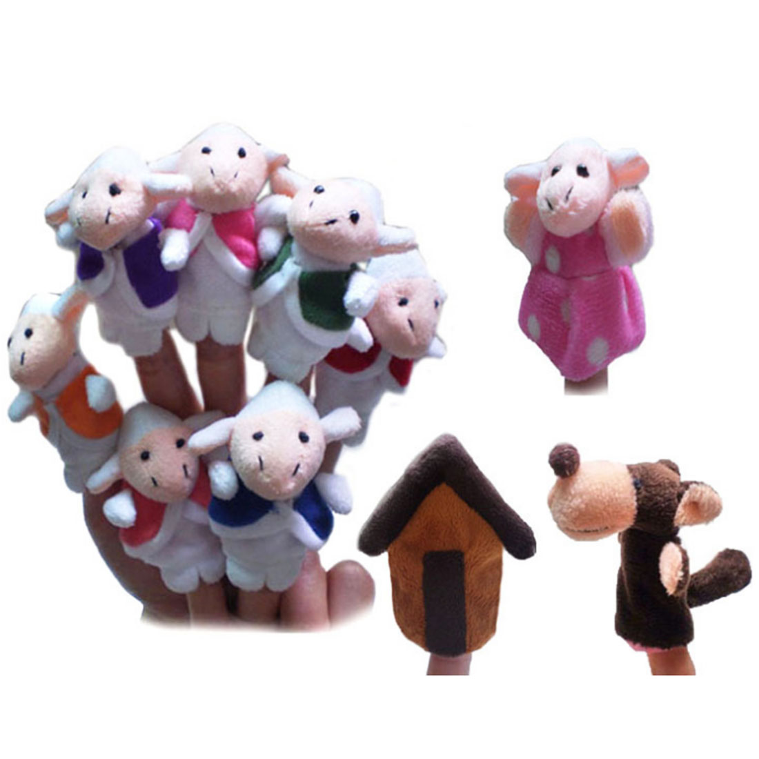 Hot Sale Fairy Tale The Wolf And The Seven Little Goats Finger Puppets Storytelling Doll Kids Children Baby Educational Toys