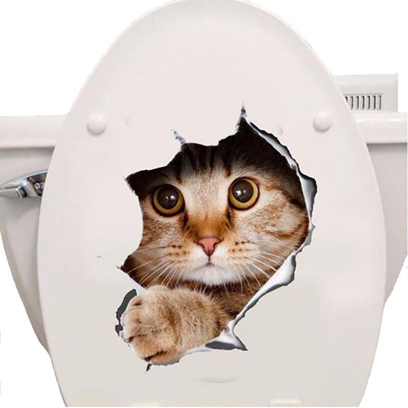 % 3d Katzen Hund Wandaufkleber Wc Aufkleber Loch Ansicht Lebendige Hunde Bad Room Decor Tier Vinyl Decals Kunst Aufkleber Wand Poster