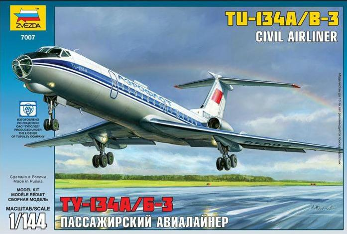 ZVEZDA 7007 1/144 Tupolev Tu-134A Russian Passenger Airplane Model Building Kits