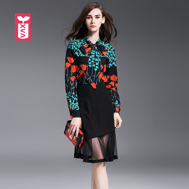 top quality brand long sleeve lily two piece femme flower bowknottop quality brand long sleeve lily two piece femme flower bowknot twinset women set\u0027s holiday mermaid skirt and tees 2018