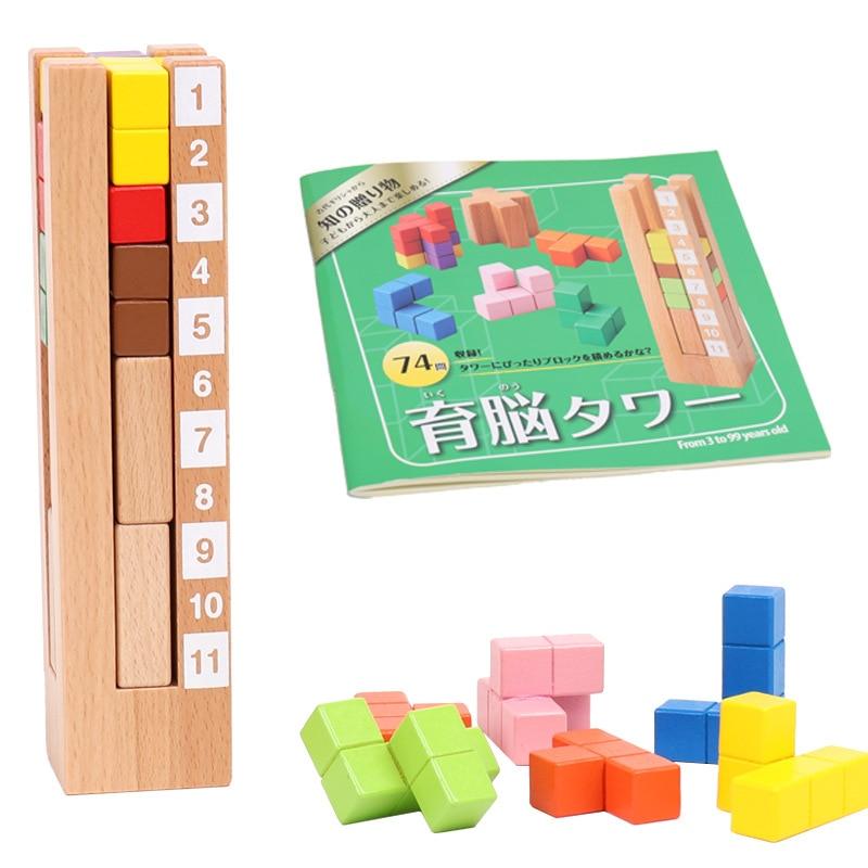 Desk Novelty 2019 New 3D Wooden Tetris Brain Teaser Puzzles Game for Adults Children