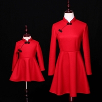 Brand Family Matching Outfits Baby Girl Dress 6M 16Y Women 3XL Tang Suit Woollen Mom Kids