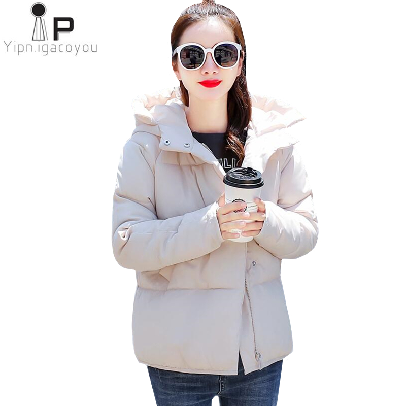 Winter Short   Parka   Women Pink Coat Women Warm Down Jacket Korean Plus size Hooded Black Overcoat Autumn Cotton Padded Basic Tops