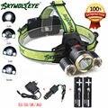 Nova 6000Lm Farol XM-L T6 + 2 x R5 LED recarregável Farol 4 Modo Head lamp light + 2x18650 bateria + Carregador de Carro carregador