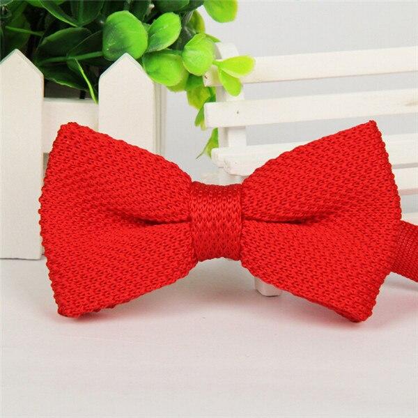 Фирменная новинка, мужской однотонный Вязаный Галстук-бабочка, Модный свадебный смокинг, красный, черный, белый, зеленый, голубой конфетный цвет, галстуки-бабочки - Цвет: 16