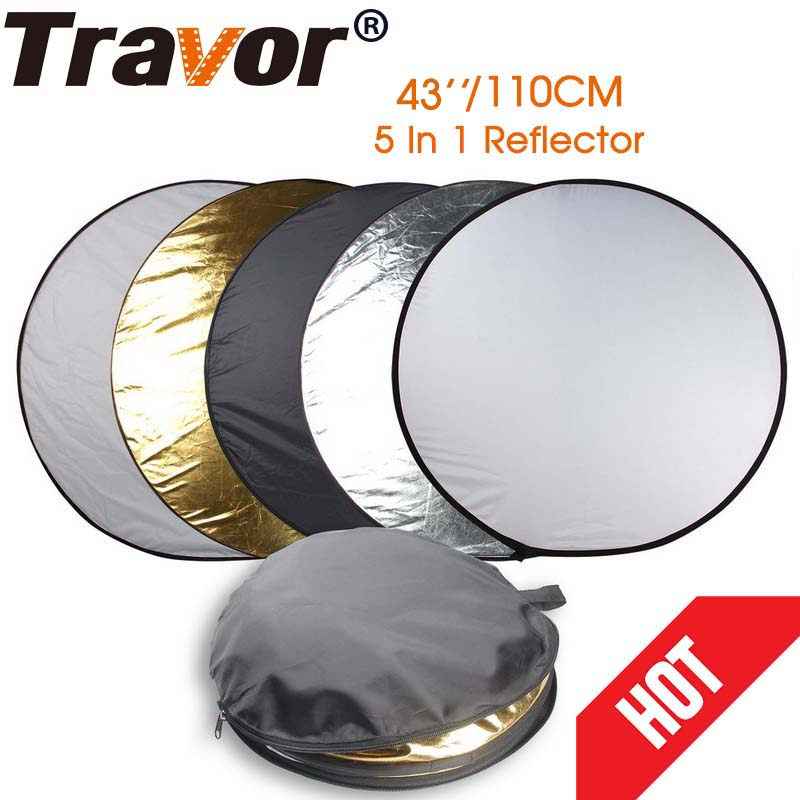 Travor 43 110cm 5 in 1 Portable Collapsible Light Round Photography Photo Reflector Studio Multi Photo Disc