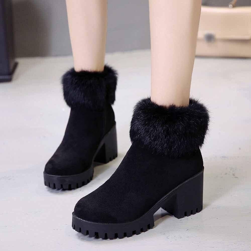 fc2f57a2 De Negro 2018 Moda Botas Negro Otoño Mujer Tacón Zapatos Casual khaki Cómodo  Tobillo Alto q6gWpgxzwT