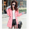 Women Outerwear 2016 New Winter Cotton Korean Slim Down Coat Solid Patchwork Hooded Collar Zipper Jacket YJ862