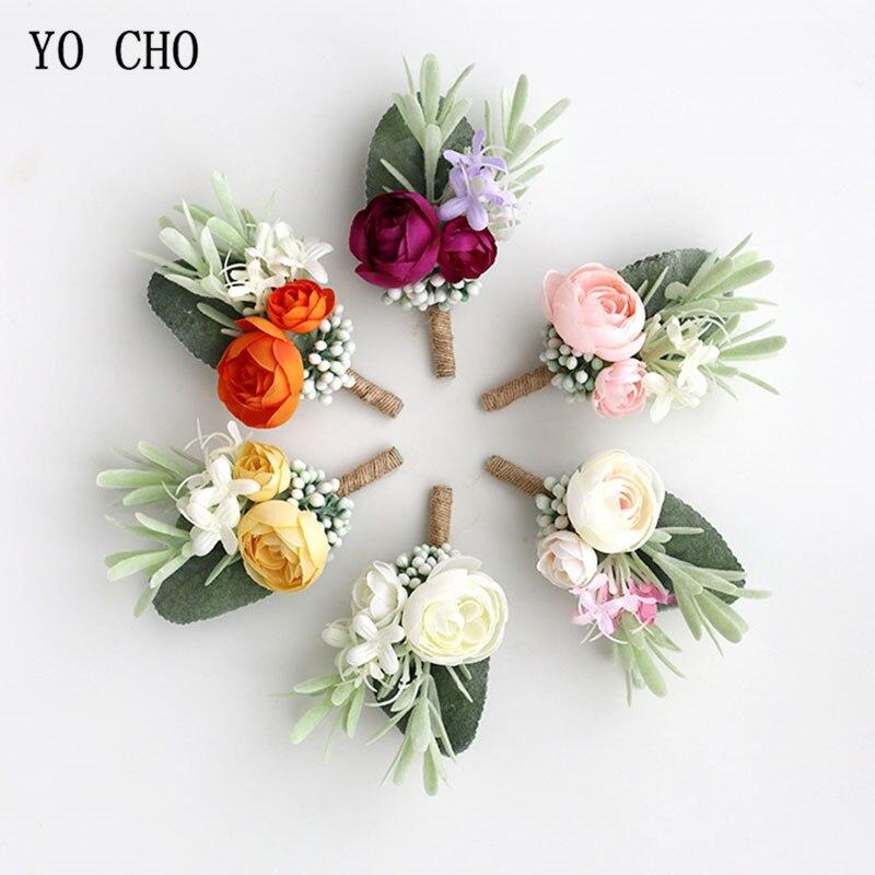 5f98f014d YO CHO Planejador Do Casamento Boutonniere Branco Pulso Pulseira Corpete  Boutonniere Nupcial Da Flor Do Casamento para Os Hóspedes Acessórios Mariage