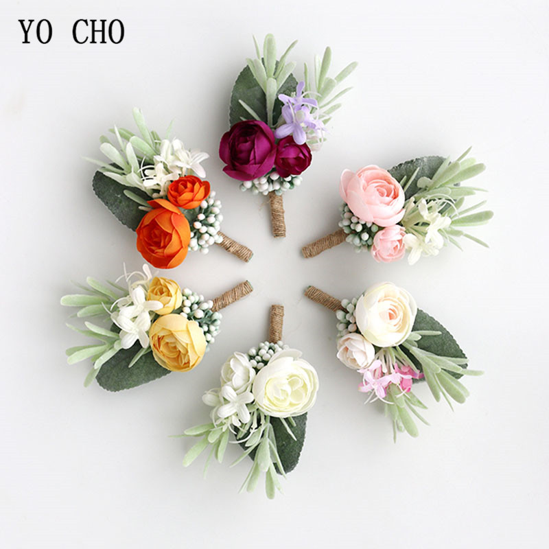 YO CHO Wedding Planner Boutonniere White Wrist Corsage Bracelet Bridal Flower Wedding Boutonniere For Guests Mariage Accessories