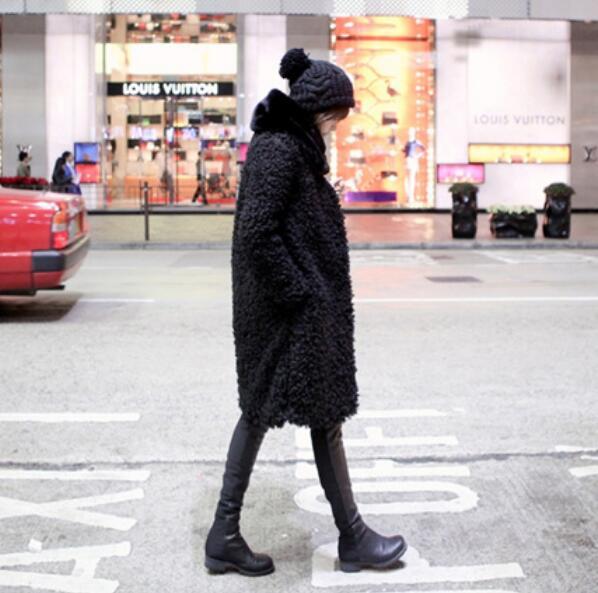 Moutons Hiver 2018 Garder Cercle Veste Outwear De Fourrure Poilu Noir Vintage Manteau O Cou Au Chaud Shaggy Faux Longue Bouclés Long Nouveau Corée Vêtements xwxq0Z7n6