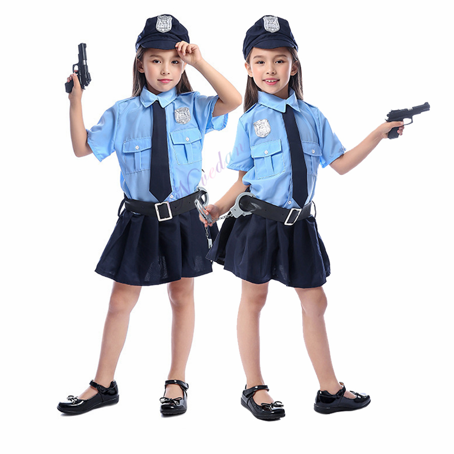 Girls Halloween Cop Police Officer Costume Kids Child Role-playing Cosplay Policeman Uniform Party Fancy Dress