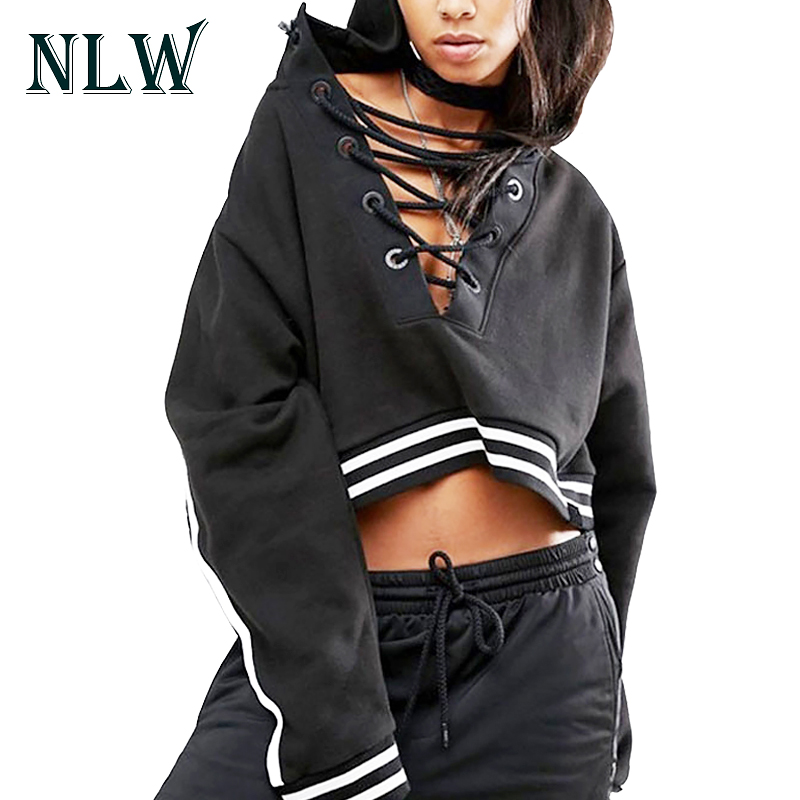NLW Sexy Lace Up V Neck Women Hoodies Black 2017 Autumn Winter Short Crop Sweatshirts Full Sleeve Fashion Striped Pullovers Top