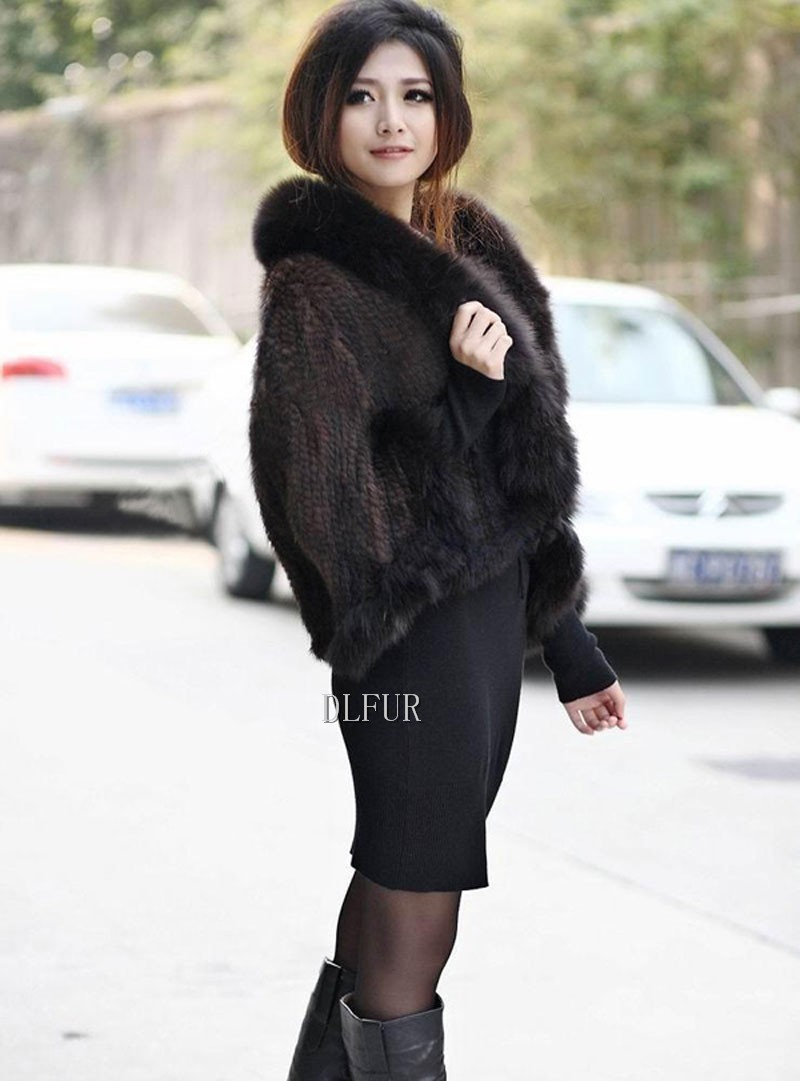 Hot Sale Genuine Mink Fur Shawl With Fox Fur Trim Women Natural Mink Fur Poncho Winter Knitted Mink Fur Jackets DL6235 (16)