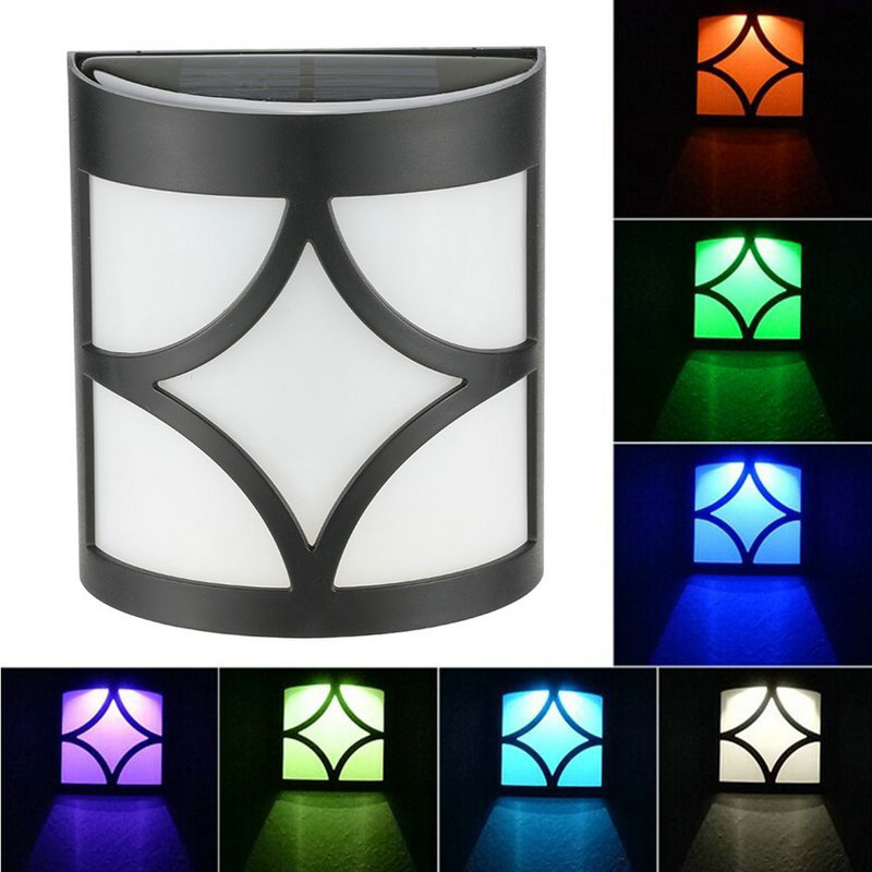 1PC Solar Manual RGB Colorful Wall Lamp Patio Path Garden Fence Lighting Party Indoor Ou ...