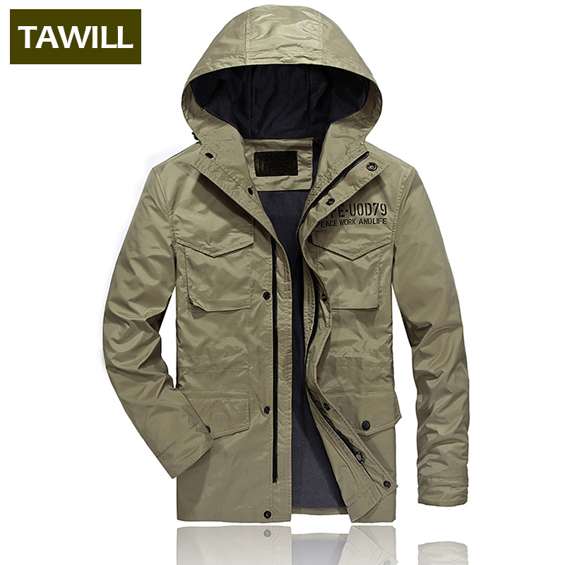 TAWILL 2018 New Men Casual Jacket Coat Mens Fashion Washed 100% Cotton Brand-Clothing Jackets Male Coats Spring Autumn 1802 ...