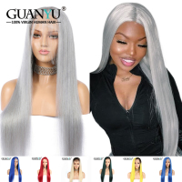 Grey Full Lace Human Hair Wigs With Baby Hair Pre plucked 613 Blonde Blue Pink Red Gray Green Ombre Lace Wig 150% Density