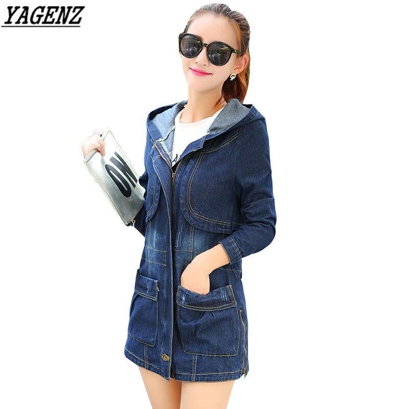 YAGENZ Spring Denim Trench Coat Plus Size 4XL Woman Basic Coats Hooded Medium Long Casual Women Autumn Windbreaker Jeans Costume
