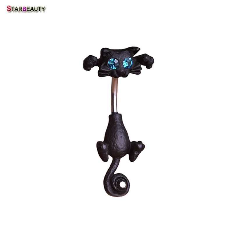 Starbeauty Black Cat Belly Ring Navel Piercing Ombligo Crystal Piercing Nombril Blå Ögat Mage Knappar Ringar Kroppsmycken Pircing