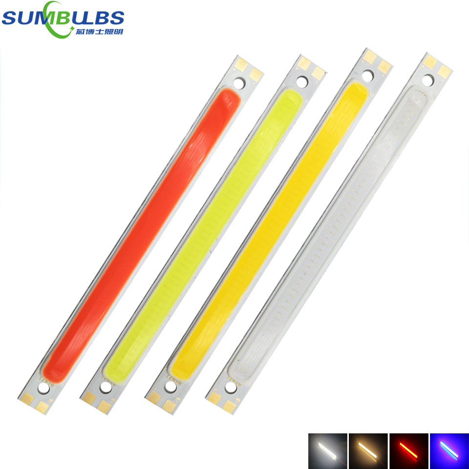 [Sumbulbs] 120x10mm 1000LM 10W COB Chip LED Strip Lamp Bulb 12V DC Red Blue Warm Cool White Epistar LEDs For Car DRL Lights DIY
