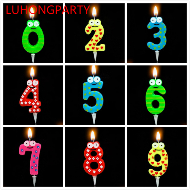 Colorful Frog Birthday Candles Number Cake Cupcake Topper Party Candle Decoration Supply LUHONGPARTY