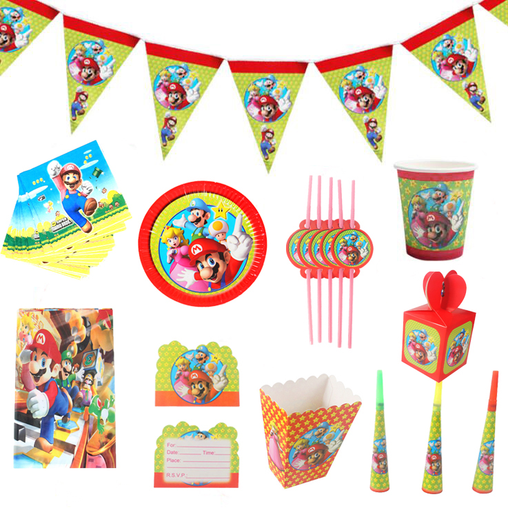 Super Mario Theme party Disposable tableware paper plate cup napkin banner candy box straw tablecloth Birthday party Decor