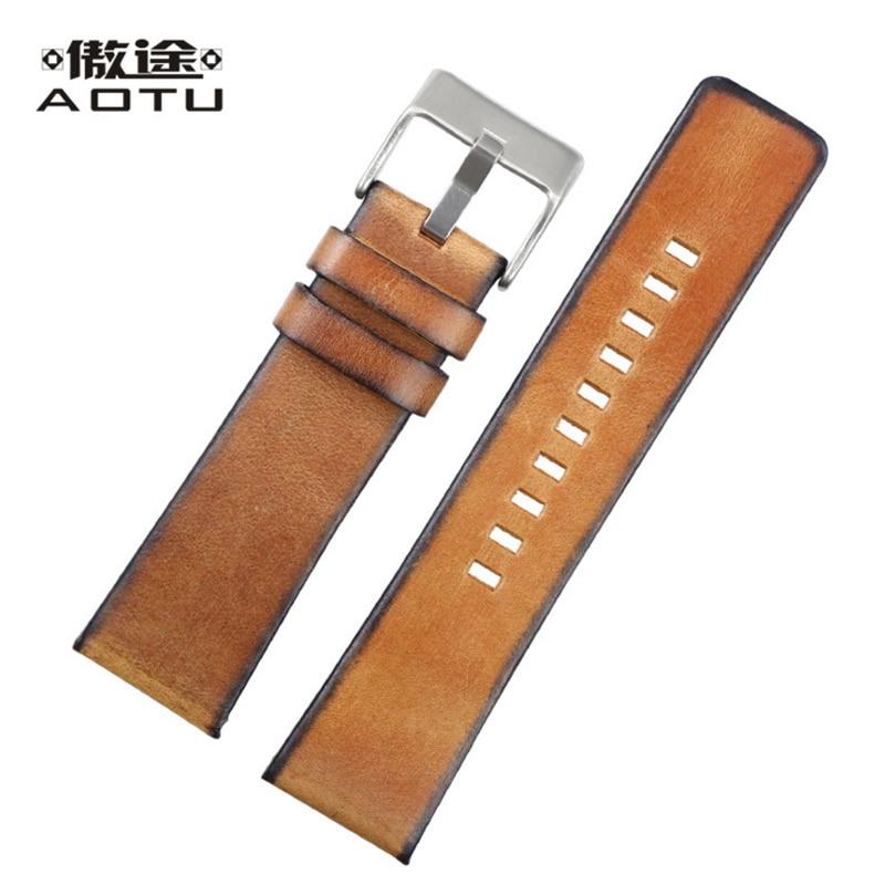 купить Genuine Leather Watch Straps For Diesel Fossil Retro 24MM Mens Leather Watch Band Male Vintage Watch Strap Band Bracelet Belt по цене 2655.3 рублей