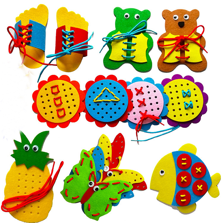Teaching Kindergarten Manual Diy Weave Cloth Early Learning Education Toys Montessori Teaching Aids Tying Shoelaces Math Toys