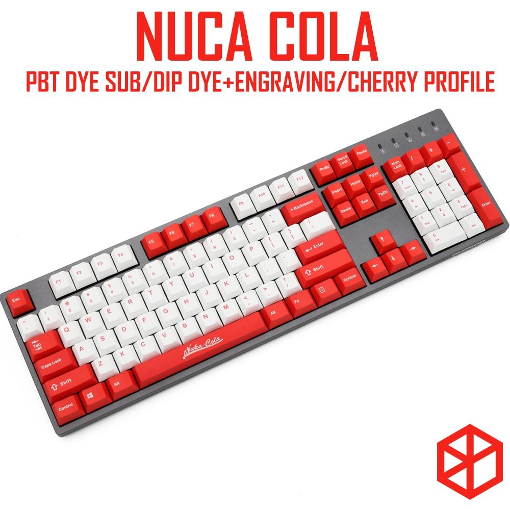 Nuca Cola Fallout Cherry profile Keycap Set thick PBT white red laser etched dip dye gh60 xd64 xd84 96 87 104 k70 razer corsair(China)
