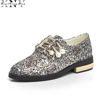 XiuNingYan Women Oxfords Genuine Leather Glitter Women Casual Shoes Flats Loafers Slip On Shoes Woman Brogues