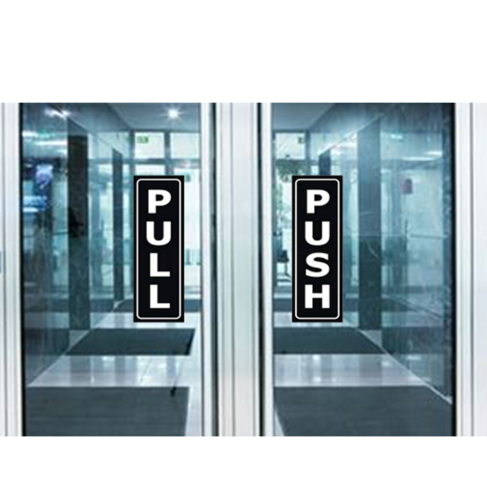 1 Pair Push And Pull Durable Waterproof Removable OPEN Sign Outdoor Home Self Adhesive PVC Indoor Office Door Sticker Easy Apply