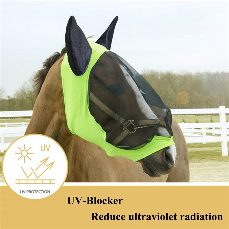 Image 4 - Pet Supplies Horse Detachable Mesh Mask With Nasal Cover Horse Fly Mask Horse Full Face Mask Anti mosquito Nose with Zipper-in Horse Care Products from Sports & Entertainment
