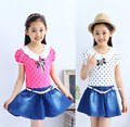 Cheap sale children girls pink fishtail pleated spandex micro denim skirt suit set with leather belt bow shirt 2pcs cowgirl