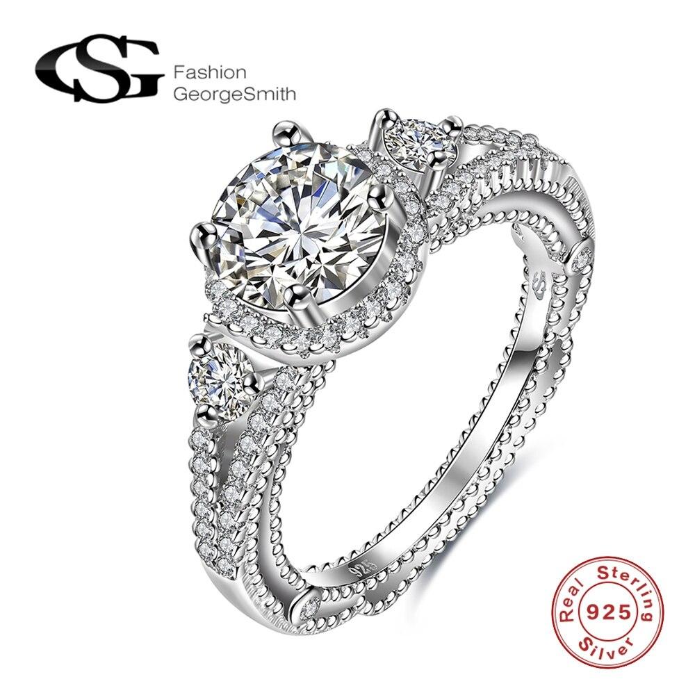 1ad6362b2d74 GS BLANCO CRISTAL 925 joyería de plata esterlina puro sólido genuino ronda  CZ cristal Anillos de compromiso para las mujeres bijouterie