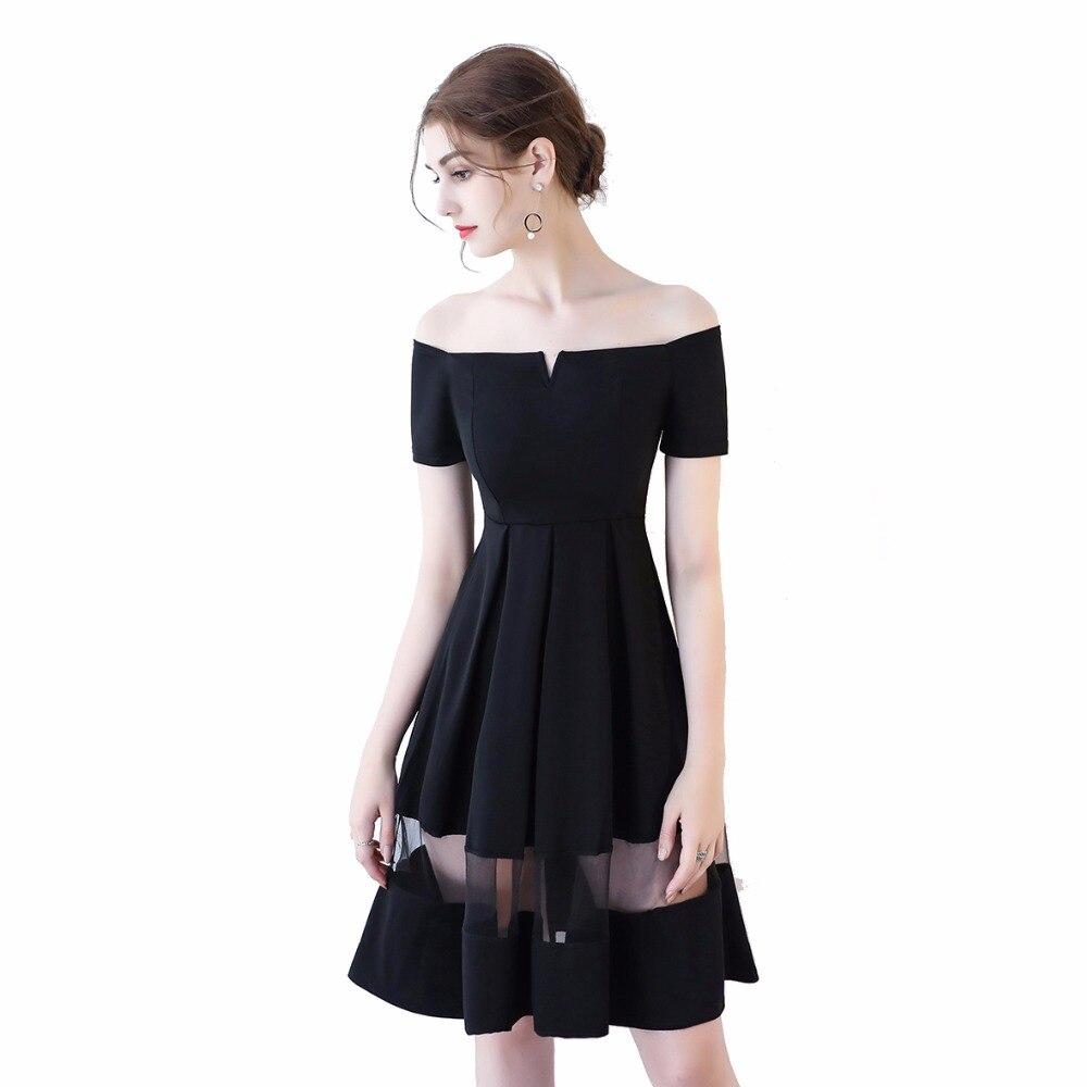 Boot ausschnitt Illusion Kleine Schwarze Kleid Kurzarm Knielangen ...