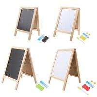 New Mini Wooden Tripod Blackboard Small Double Easel Message Board Whiteboard For Students Children