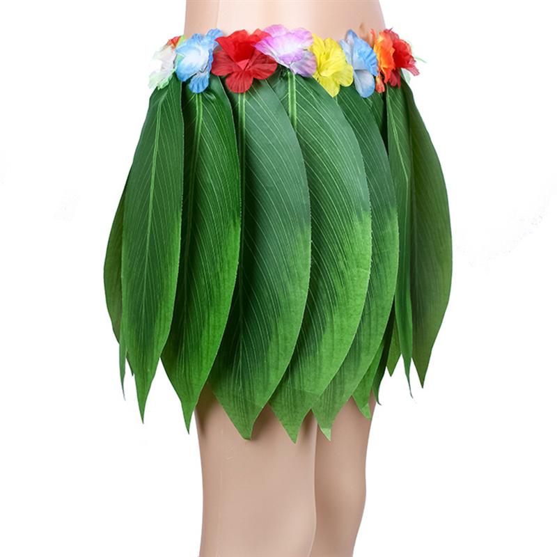 Image 3 - 4PCS Adult Tropical Hawaiian Beach Clothes Hawaii Costume Leaves Skirt Grass Skirt Dance Skirt with Garland for Traval Festival-in Party DIY Decorations from Home & Garden