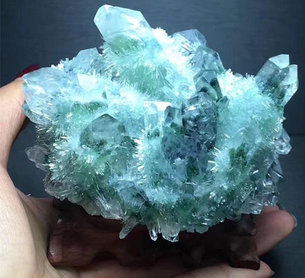 MEILLEUR!! Rare nouveau naturel vert fantôme Quartz cristal Cluster Aura Quartz cristal titane Bismuth silicium spécimen minéral