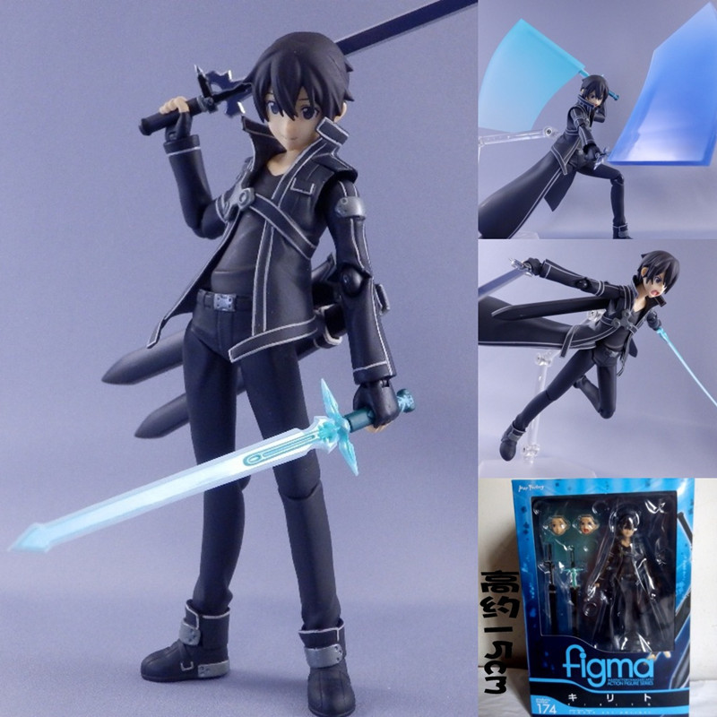 Drop Shipping Figma 174 Sword Art Online SAO Kirito Japanese Anime Marvel Action Figures Model Toy Birthday Gifts Hot Sell anime figma 289 sword art online ii kirito alo ver alover kirigaya kazuto pvc action figure collectible model toy 14cm kt2969